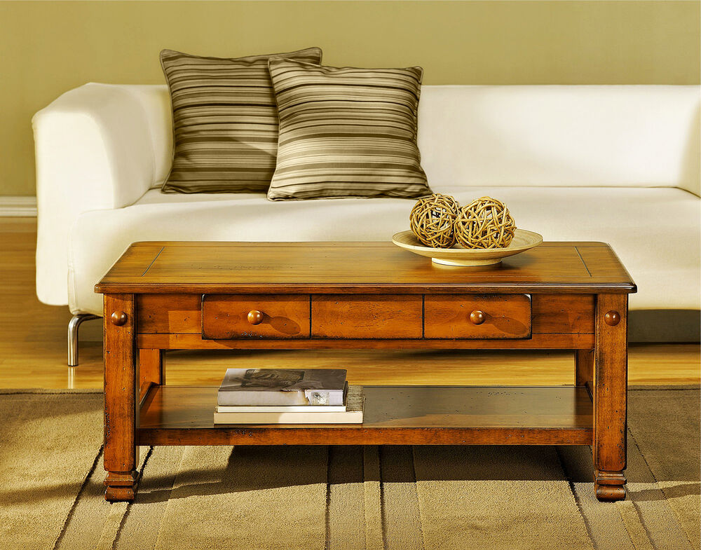 Rustic Coffee Table With Storage Drawers Lower Shelf Living Room Wood Furniture Ebay
