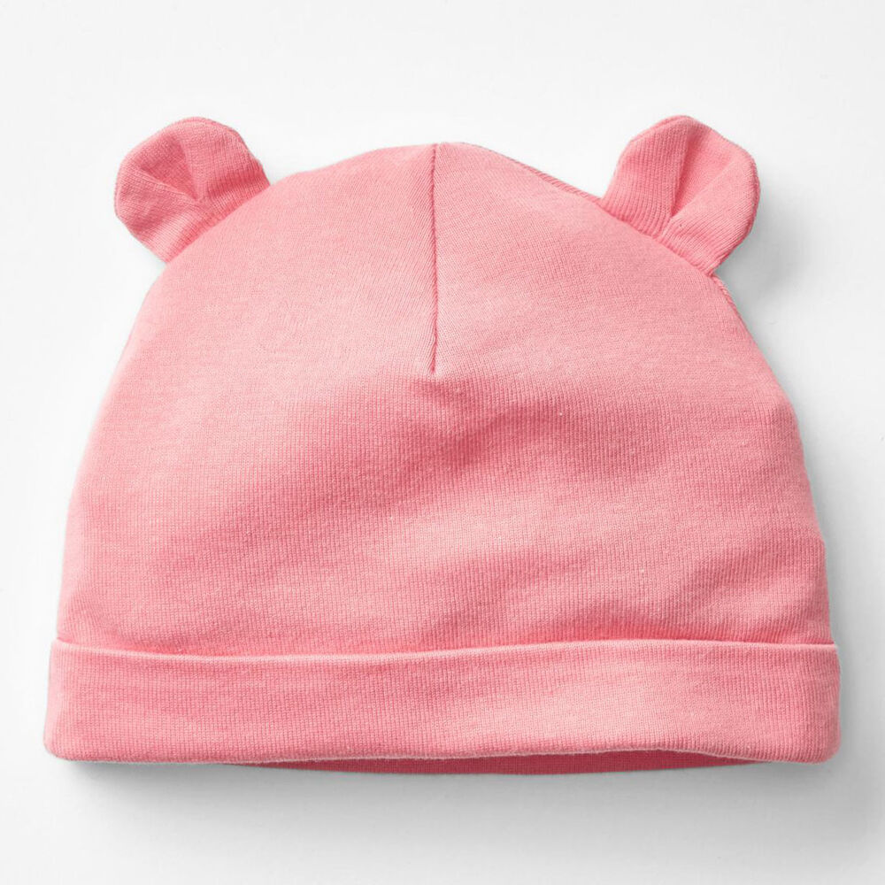 Gap baby girl pink 100% cotton rib hat beanie with bear ...