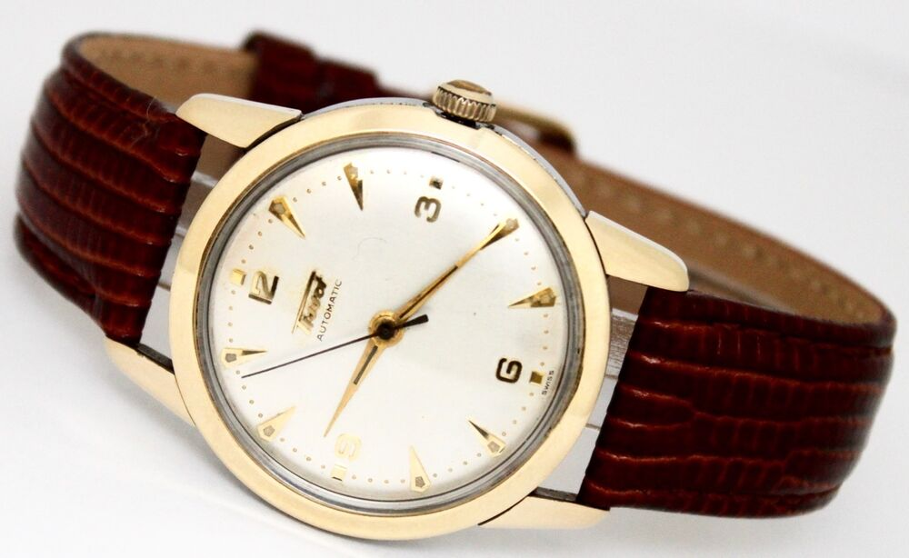 vintage tissot automatic gold filled 34mm silver