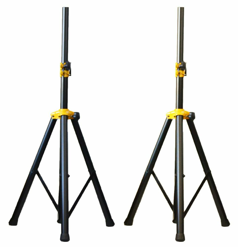 2x ignite deluxe series heavy duty tripod dj pa speaker stands adjustable pair ebay. Black Bedroom Furniture Sets. Home Design Ideas