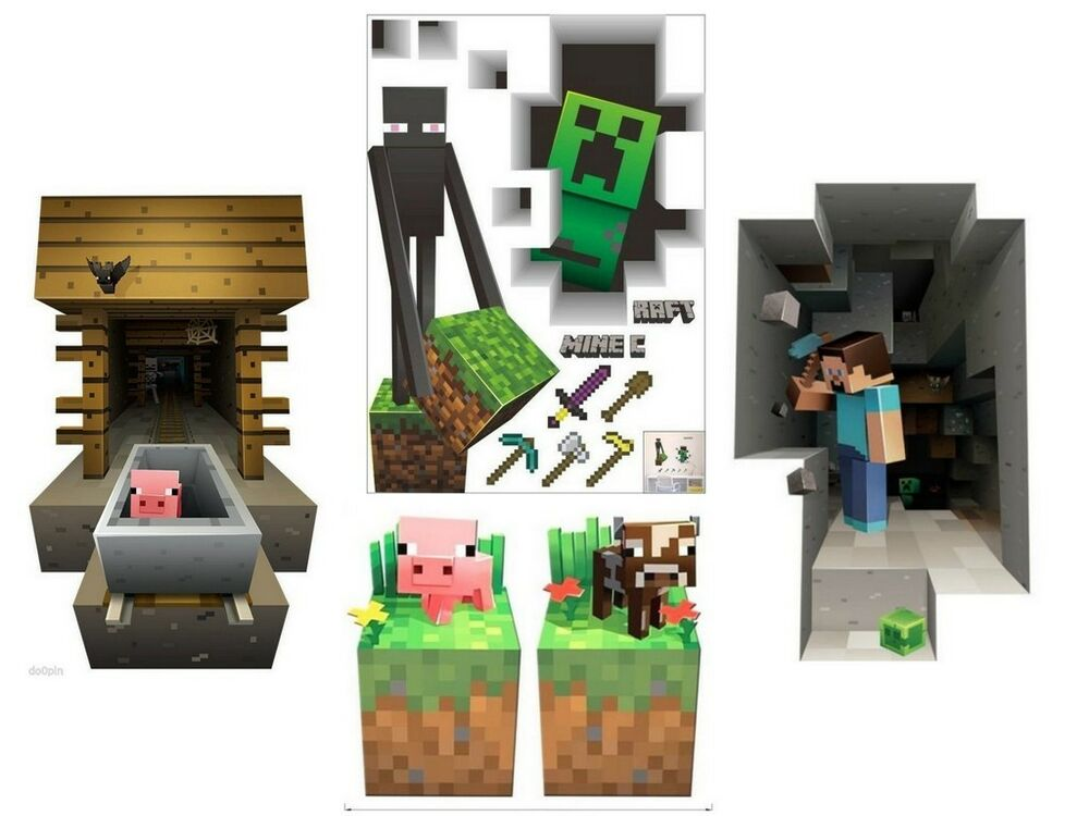 Wall Decorations Minecraft : Minecraft themed vinyl d wall decals stickers game room