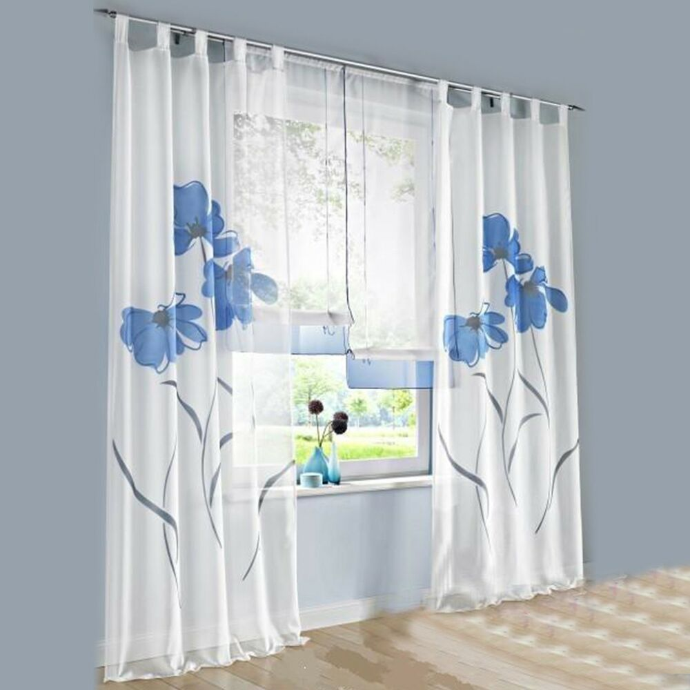 1 Pcs Sheer Tap Top Window Curtain Living Room Drapes