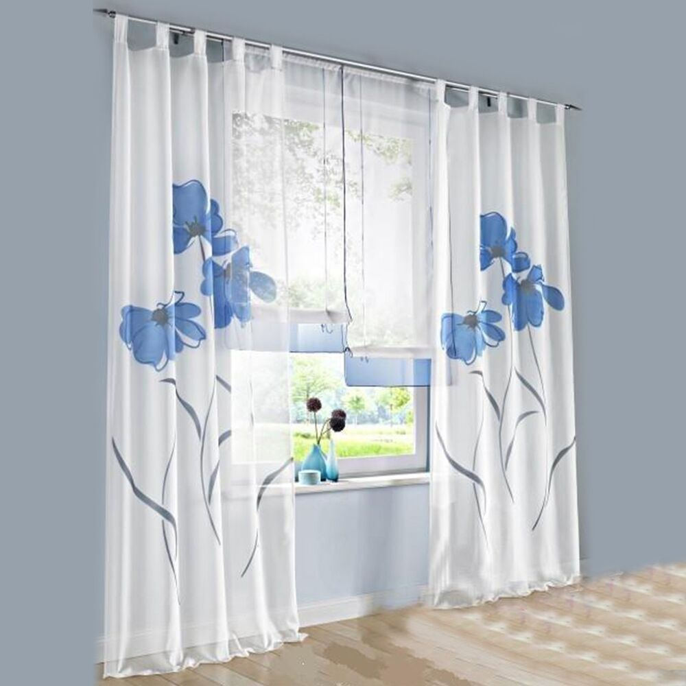 1 pcs sheer tap top window curtain living room drapes floral curtains panel ebay. Black Bedroom Furniture Sets. Home Design Ideas