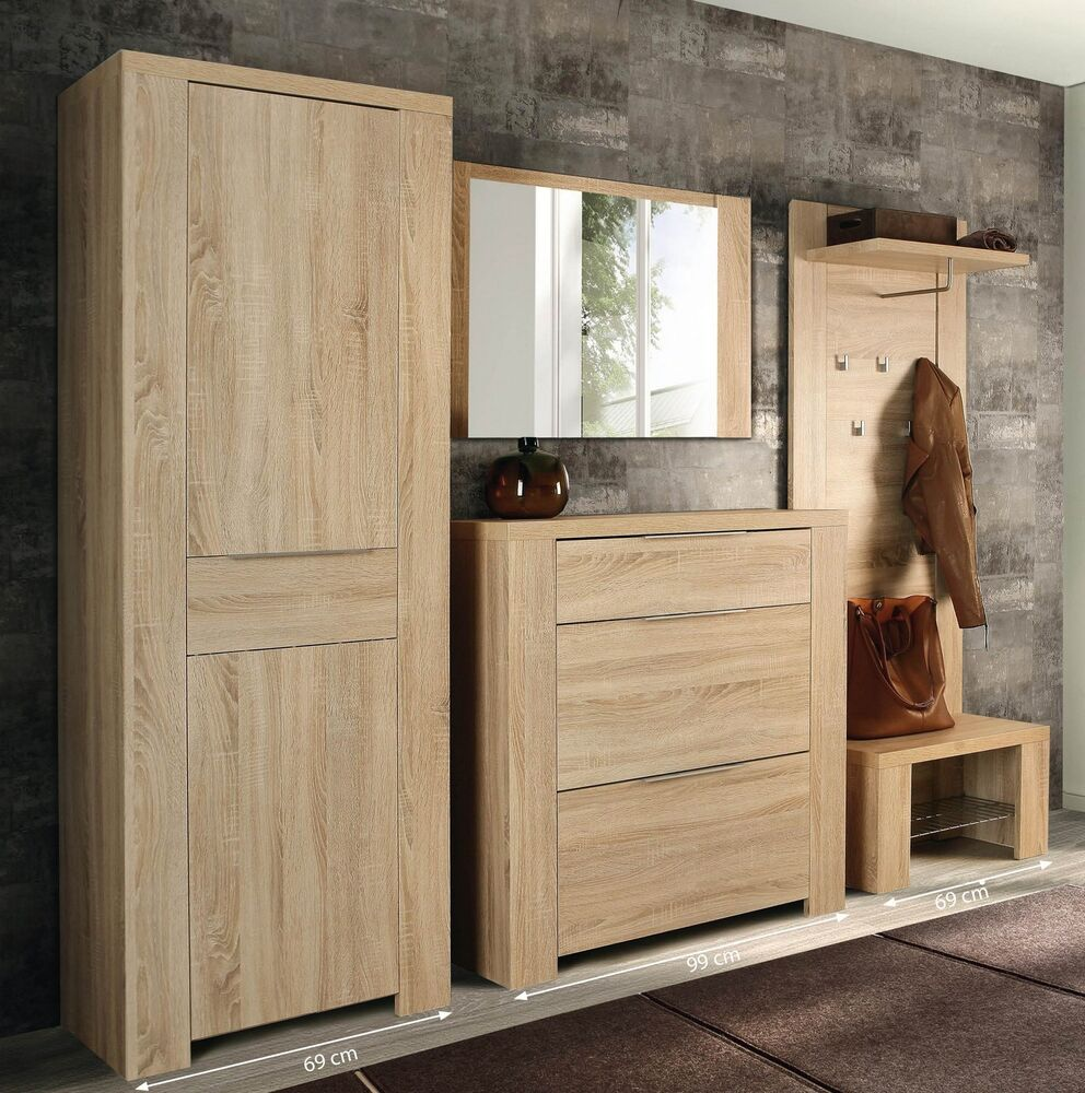 garderobenset flur garderobe dielenm bel calpe ebay. Black Bedroom Furniture Sets. Home Design Ideas