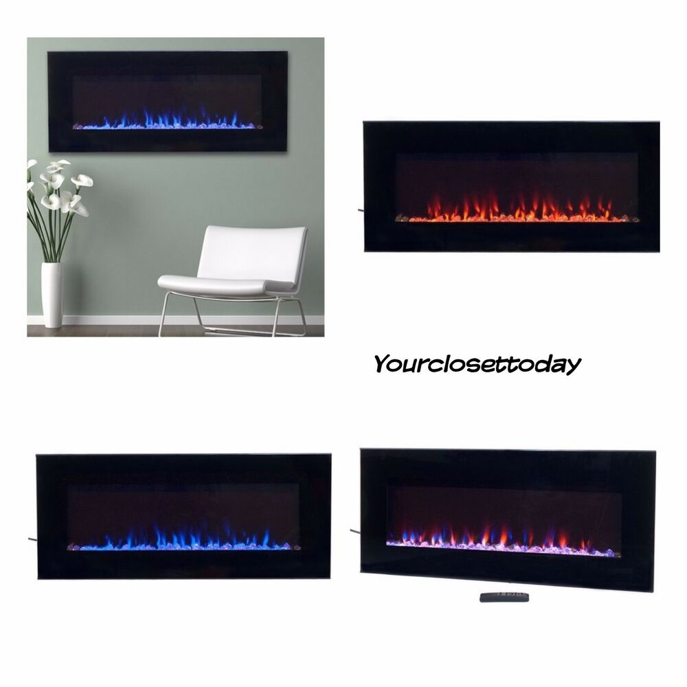 Nw Modern Black Electric Fireplace Led Blue Flame Glass Remote Wall Mount Heater Ebay