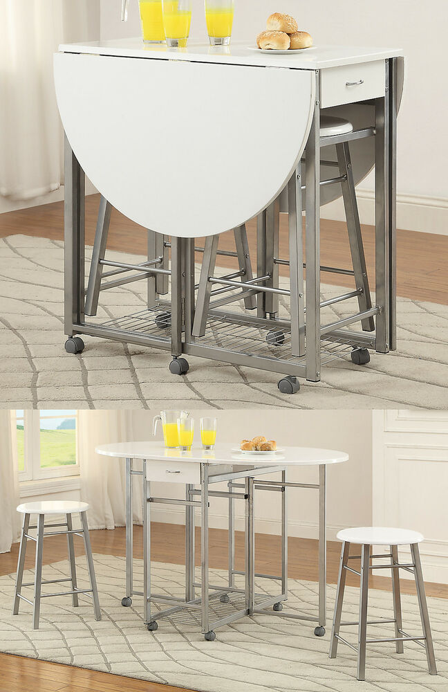 3 Piece White Metal Pub Counter Height Leaf Table W