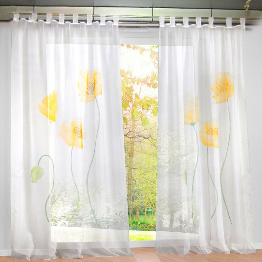 1pcs sheer window curtain floral blackout curtains drapes. Black Bedroom Furniture Sets. Home Design Ideas