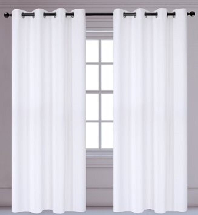 1 White Solid Panel Thermal Lined Blackout Grommet Window