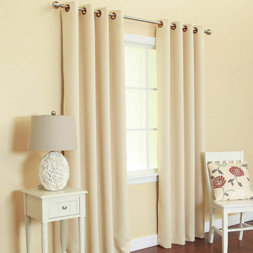 1 ivory beige solid panel thermal lined blackout grommet