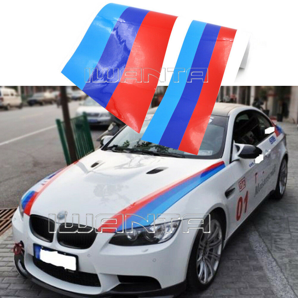 1 5m M Colored Stripe Car Hood 2 Side Sticker Decal For