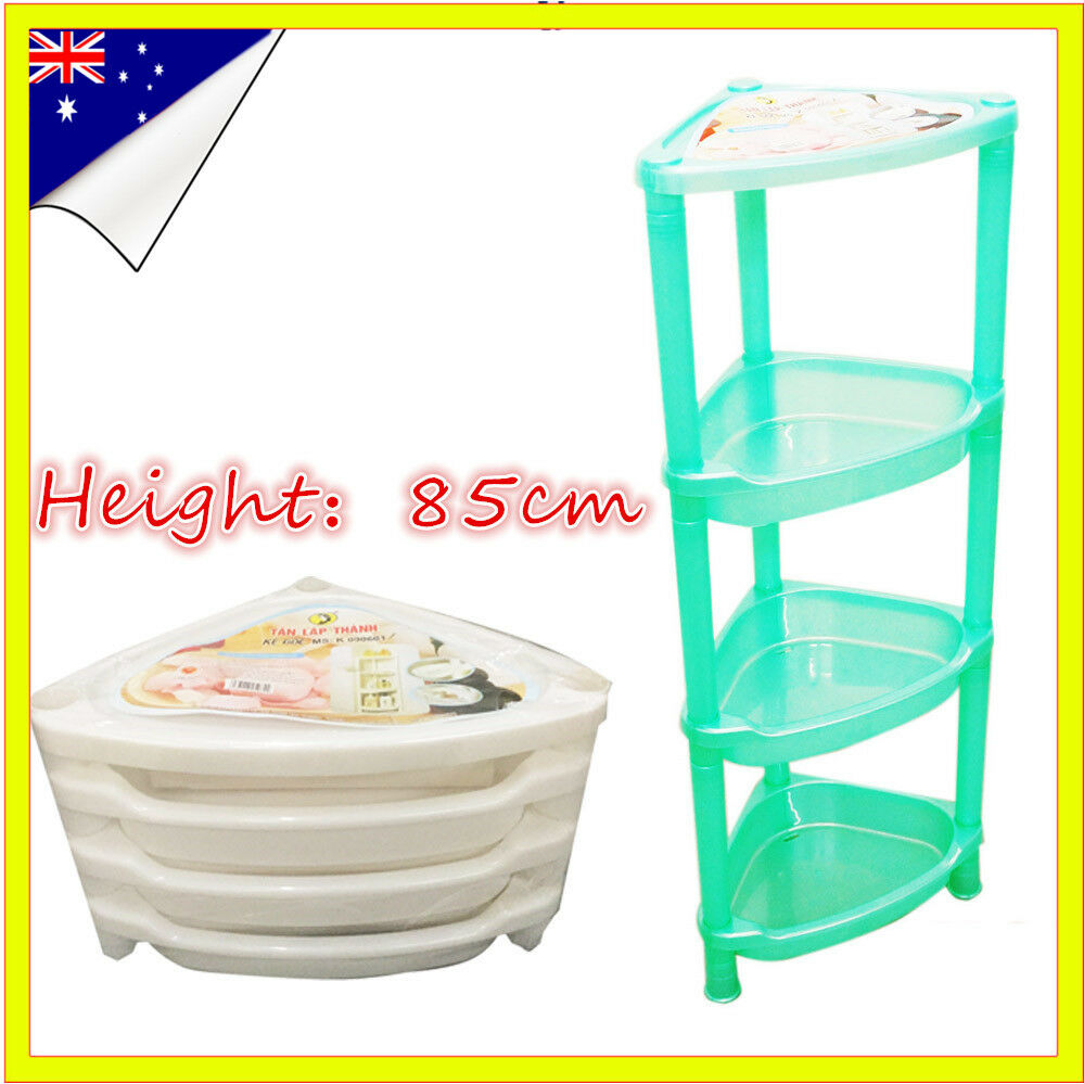 4 Tier Plastic Bathroom Corner Rack Kitchen Shelf