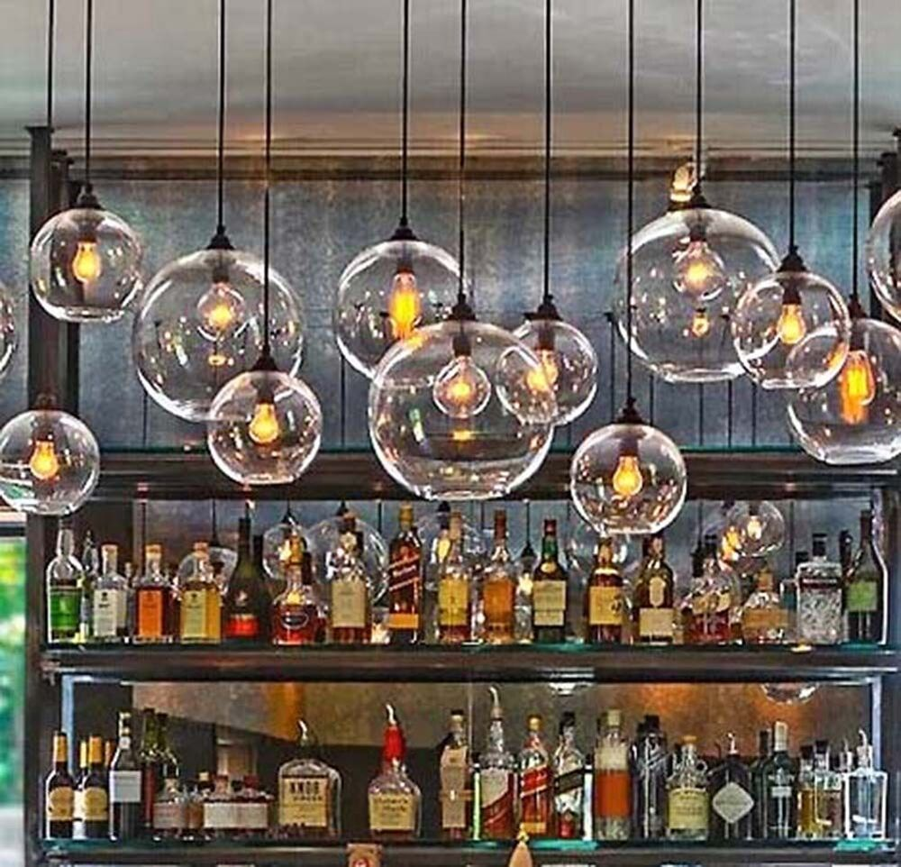 Retro Industrial Globe Loft Cafe Glass Ceiling Pendant