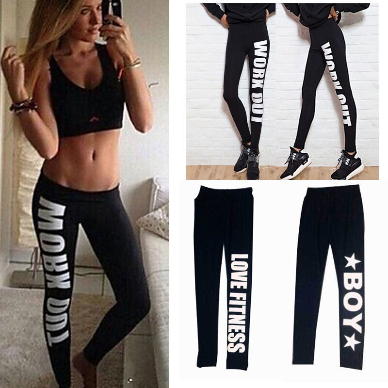 womens 39 workout yoga gym sports fitness stretch running training tights pants ebay. Black Bedroom Furniture Sets. Home Design Ideas