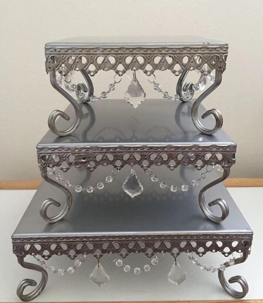 Silver  Tier Wedding Cake Stand