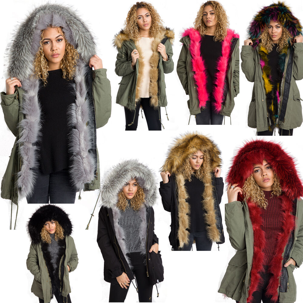 New Women Oversized Hooded Thick Faux Fur Front Trim Parka ...