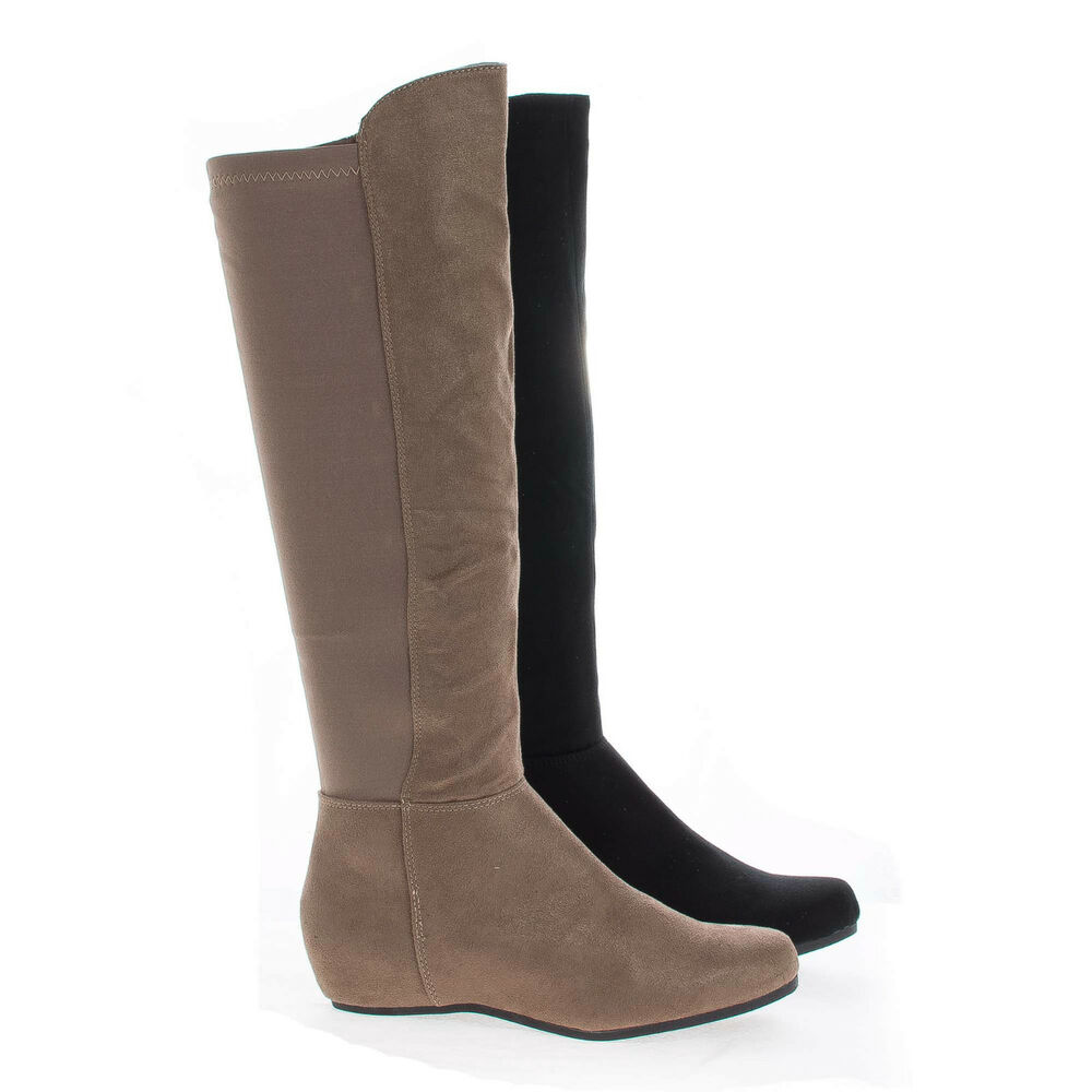 entry knee high stretchy shaft zip up boots ebay