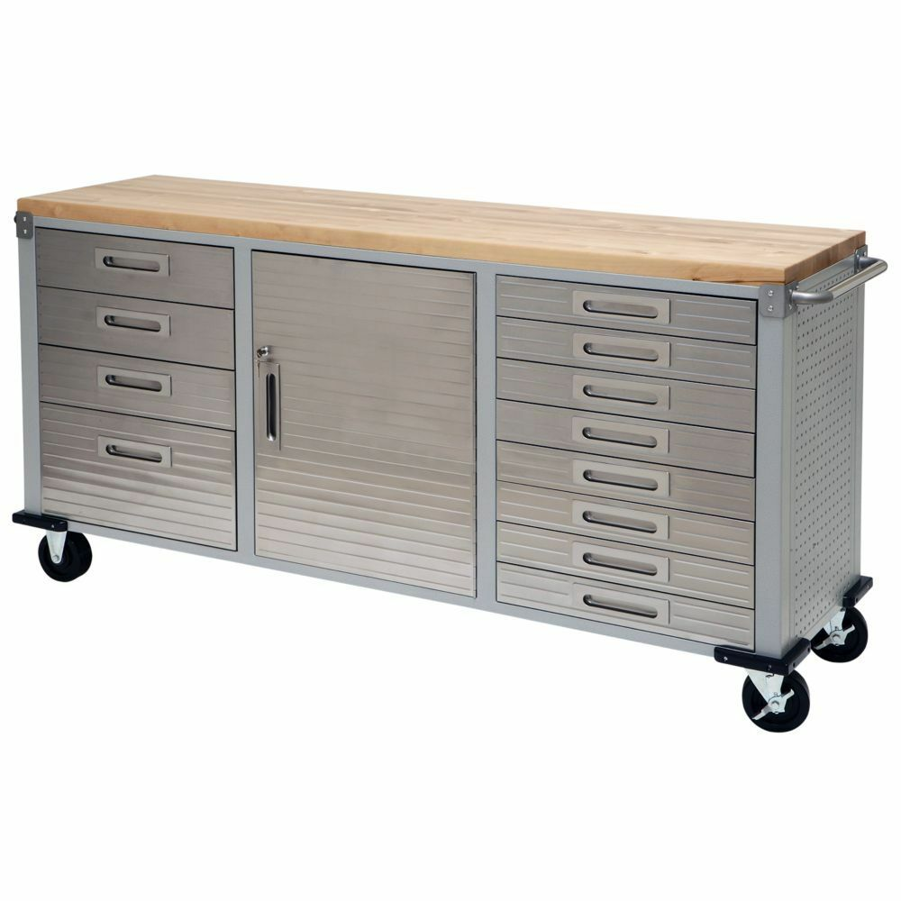 Garage rolling metal steel tool box storage cabinet wooden for Kitchen cabinets ebay