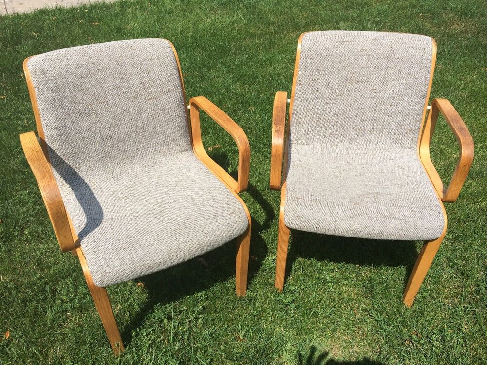 Vintage Knoll 1300 Series Arm Chairs Bentwood Frame By