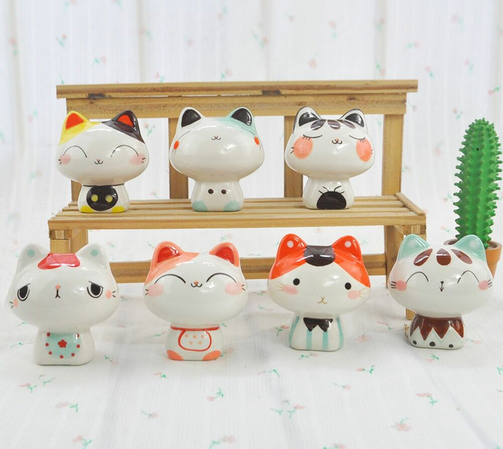 Kawaii cute lucky cat kitten ceramic figurine figure home for Cute home accessories
