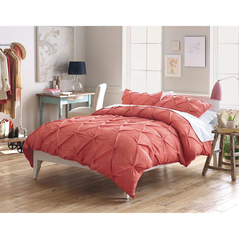 New Threshold Pinched Pleat 3 Piece King Duvet Cover Set