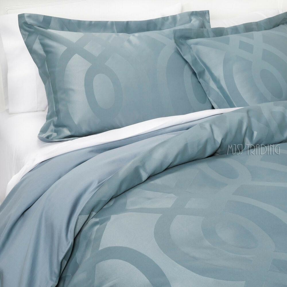 new fieldcrest luxury modern 3 piece geo duvet cover set sateen teal king ebay. Black Bedroom Furniture Sets. Home Design Ideas