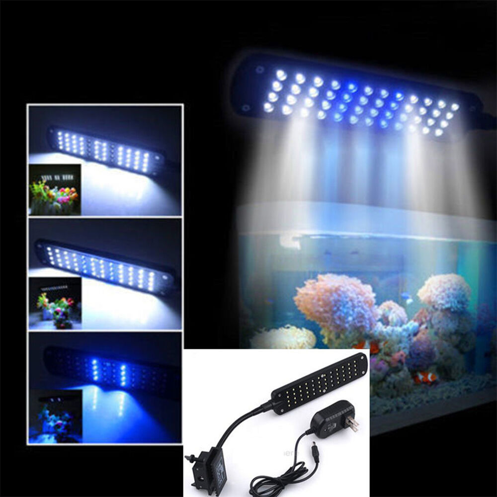 48 led fish tank aquarium plant grow clip white blue light for Fish tank lighting
