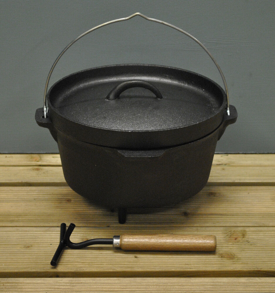 cast iron dutch oven hanging cooking pot by fallen fruits for open fire bbq ebay. Black Bedroom Furniture Sets. Home Design Ideas