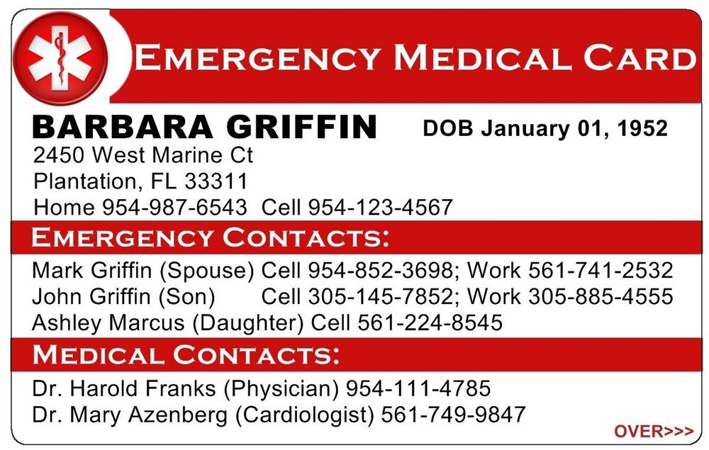 custom personalized emergency medical card 2 sided ice in