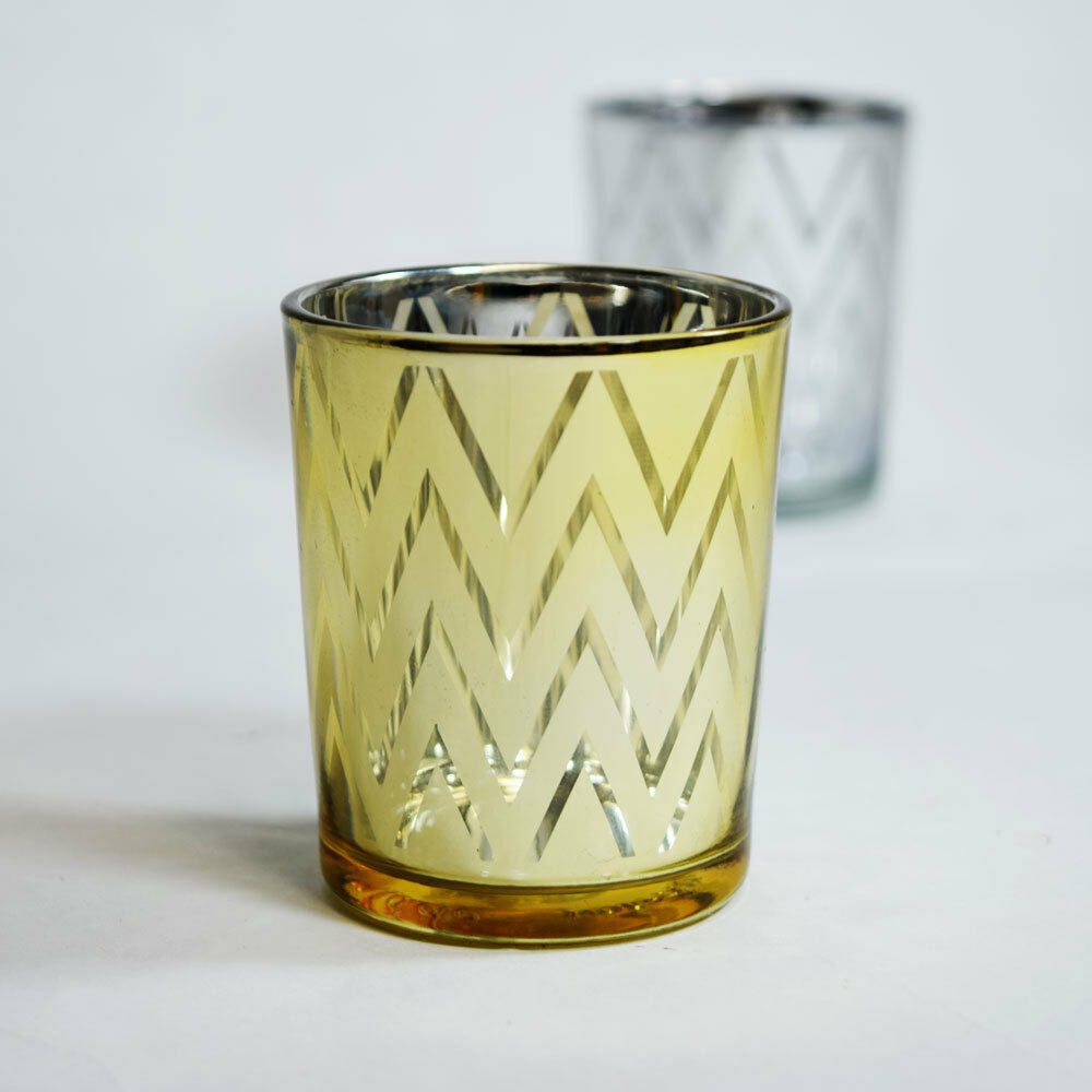 chevron votive tea light glass candle holder gold 2 5 inches 6 pack ebay. Black Bedroom Furniture Sets. Home Design Ideas