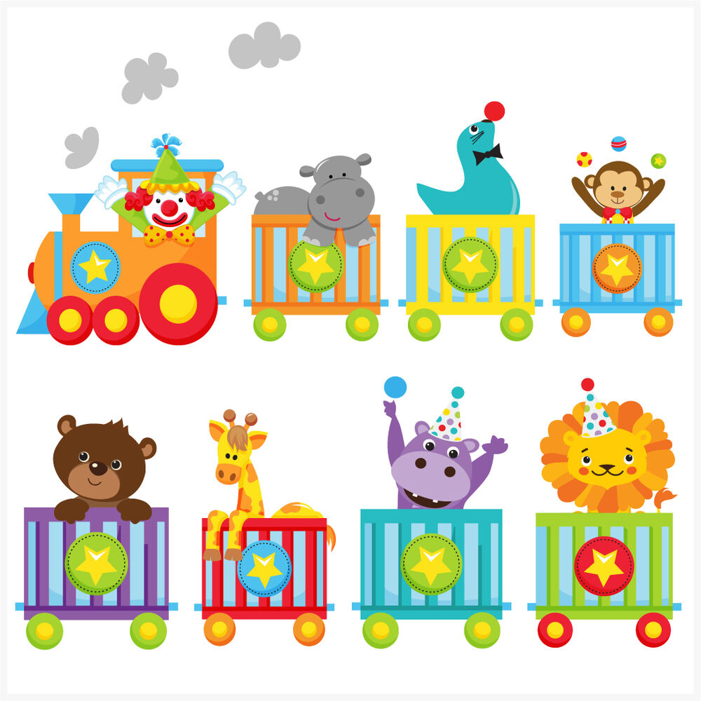 Childrens Circus Animal Train Wall Art Stickers Easy