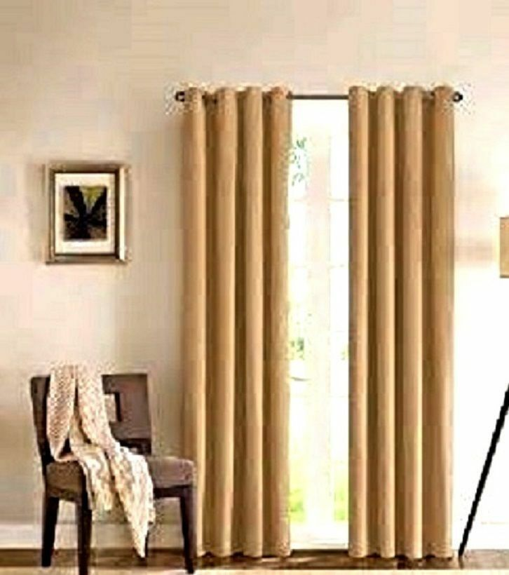2 Gold Grommet Panel Window Curtain Lined 99 Blackout