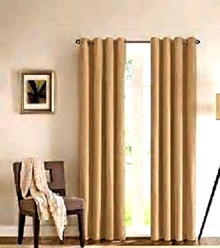 2 gold grommet panel window curtain lined 99 blackout - Black and gold living room curtains ...