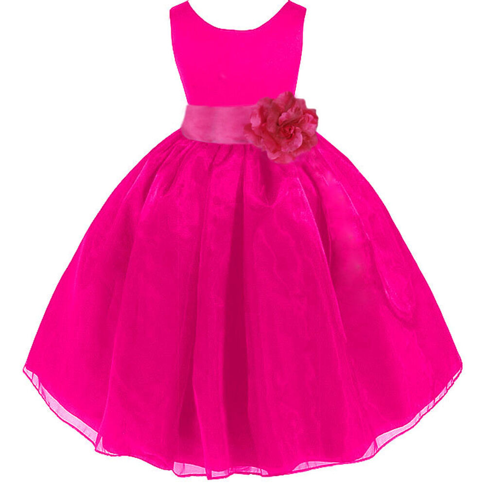 Fuchsia hot pink organza flower girl dress pageant recital for Fuchsia dress for wedding