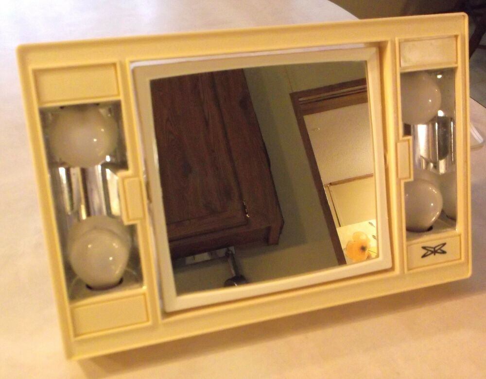 Vintage Sears Roebuck Lighted Vanity Makeup Mirror~2 Sides~Magnify~Cream Color eBay