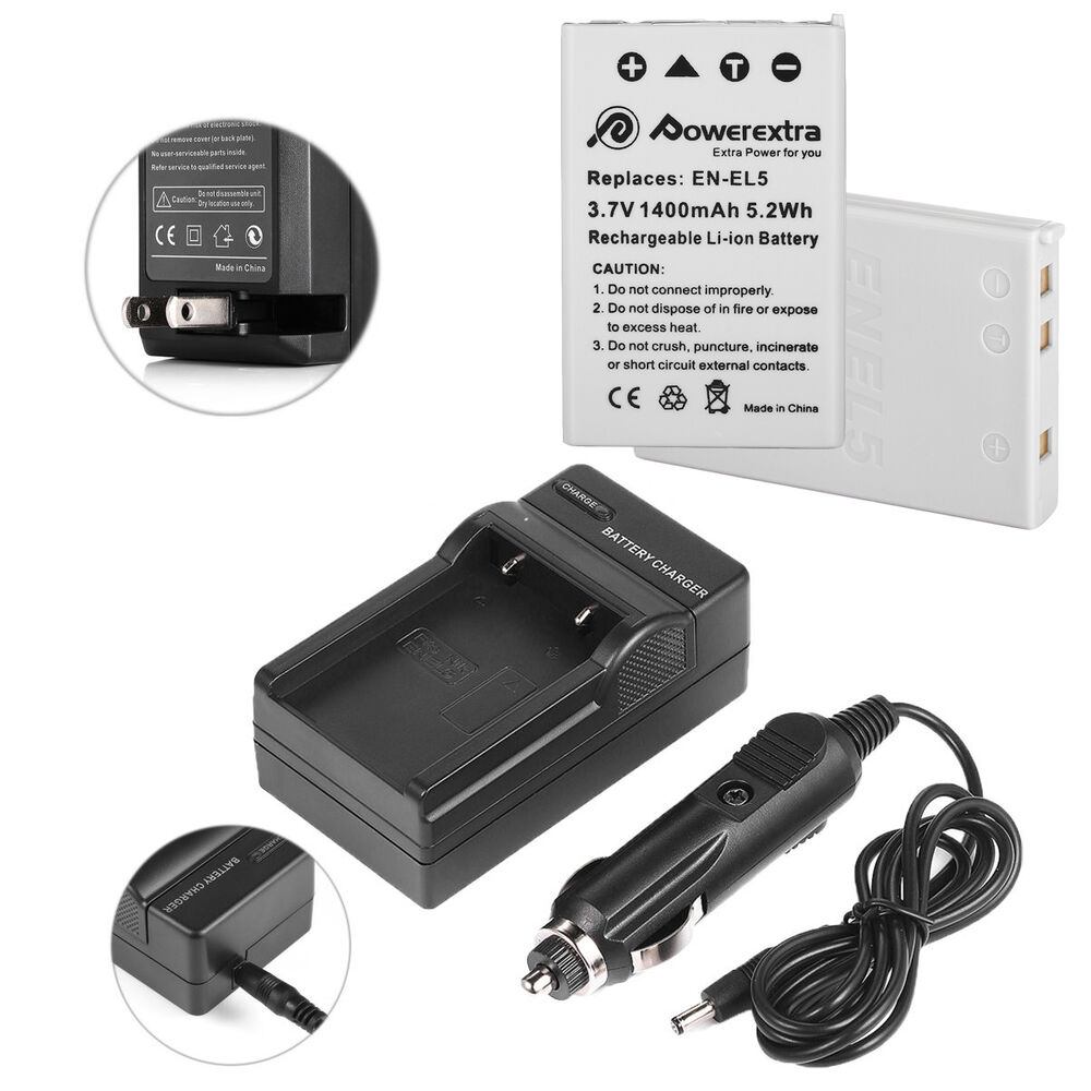 2 Pcs En El5 Battery Charger For Nikon Coolpix P510 P520