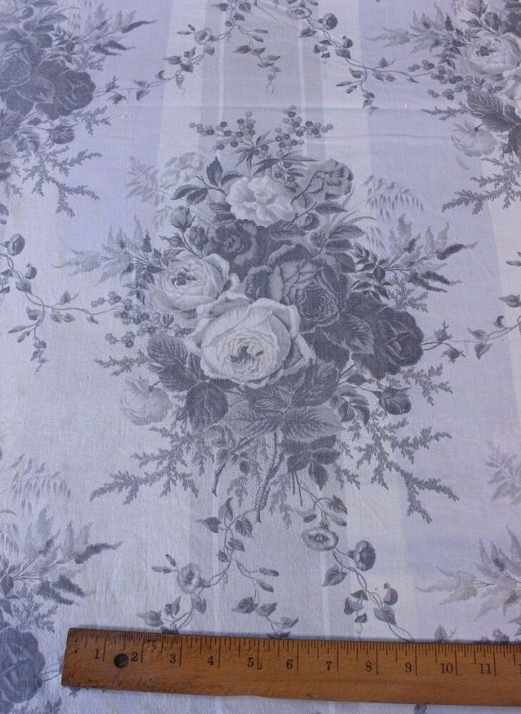 Antique French Old Cabbage Rose Chintz Curtain Fabric