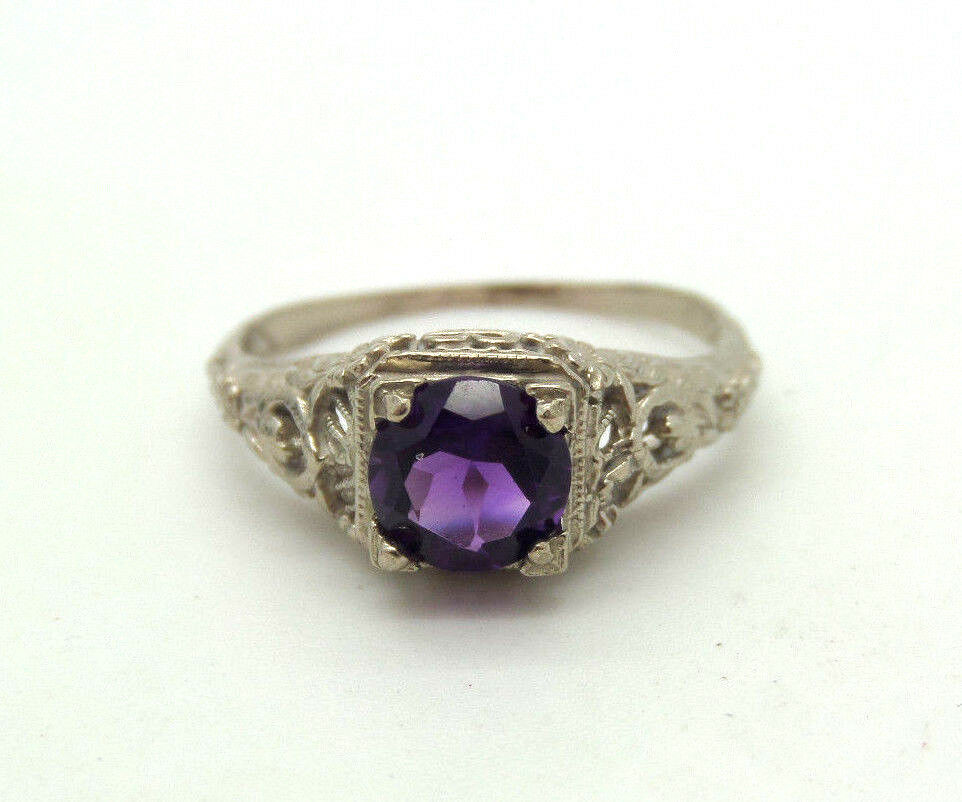 filigree antique 14k white gold deco amethyst