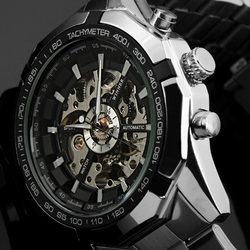 new winner men 39 s skeleton stainless steel automatic. Black Bedroom Furniture Sets. Home Design Ideas