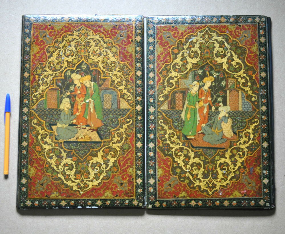 Paper Mache Book Cover : Antique islamic persian qajar papier mache lacquer koran