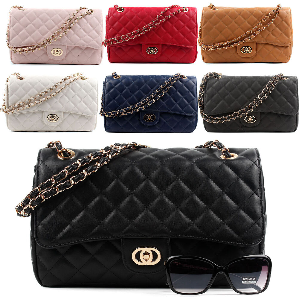 New Women Ladies Shoulder Quilted Handbag Gold Chain Faux
