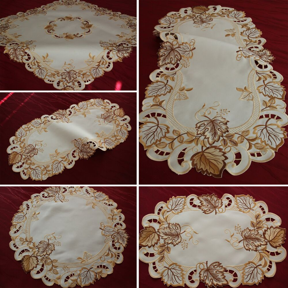 Autumn leaf doily tablecloth table runner cream white gold