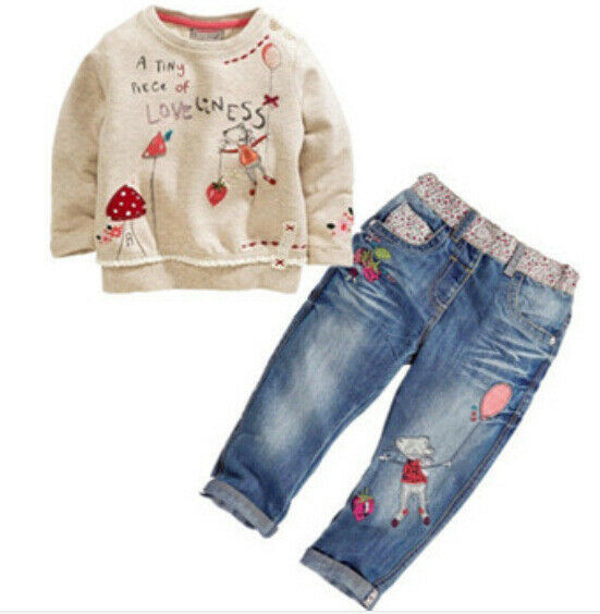 2pcs Fashion lovely Kids Baby Girls Toddler tops + Denim pants Clothes Outfits | eBay