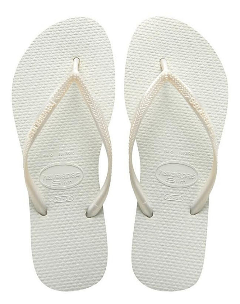 124a38fe7cea6a Details about Havaianas Women`s Flip Flops Slim Style Sexy White Brazilian  Sandal Any Size NWT