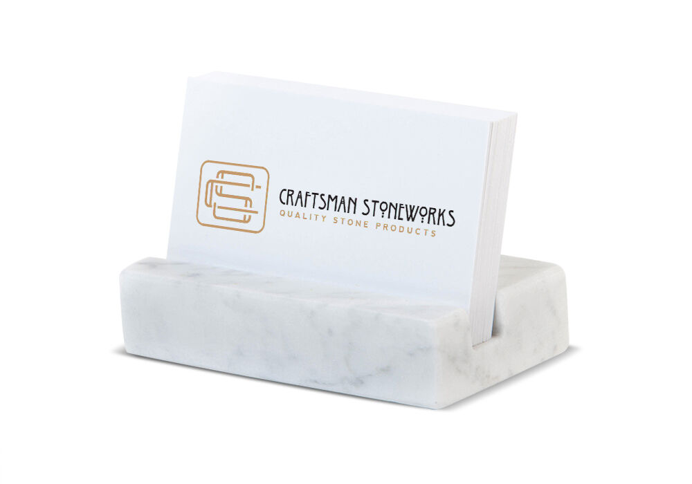 Business Card Holder White Carrara Marble Office Desk