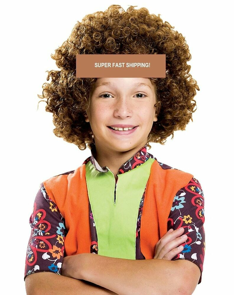 Children S Kids Brown Afro Wig Curly Afro Wig 70s 60 Party