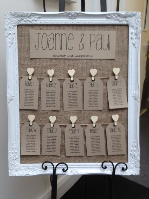 Rustic antique framed vintage shabby chic wedding table for Table plan board