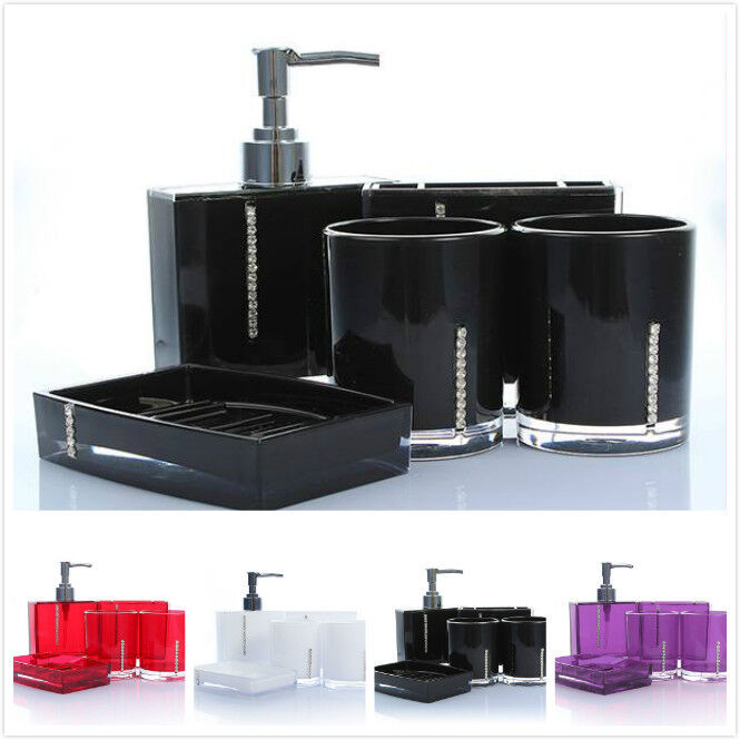 5 pcs shining multi colors accessories acrylic bathroom for Coloured bathroom accessories set