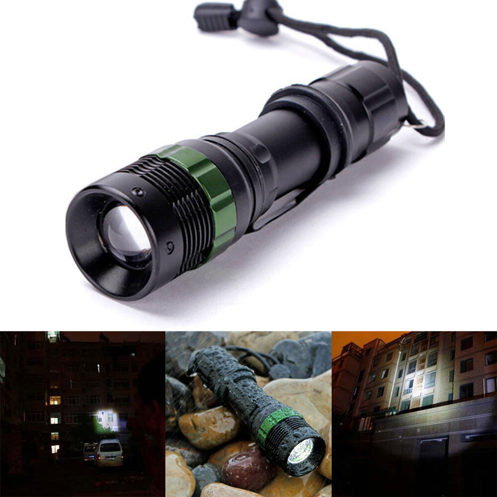 3000 lumen zoomable cree xm l q5 led flashlight torch zoom lamp light black ebay. Black Bedroom Furniture Sets. Home Design Ideas