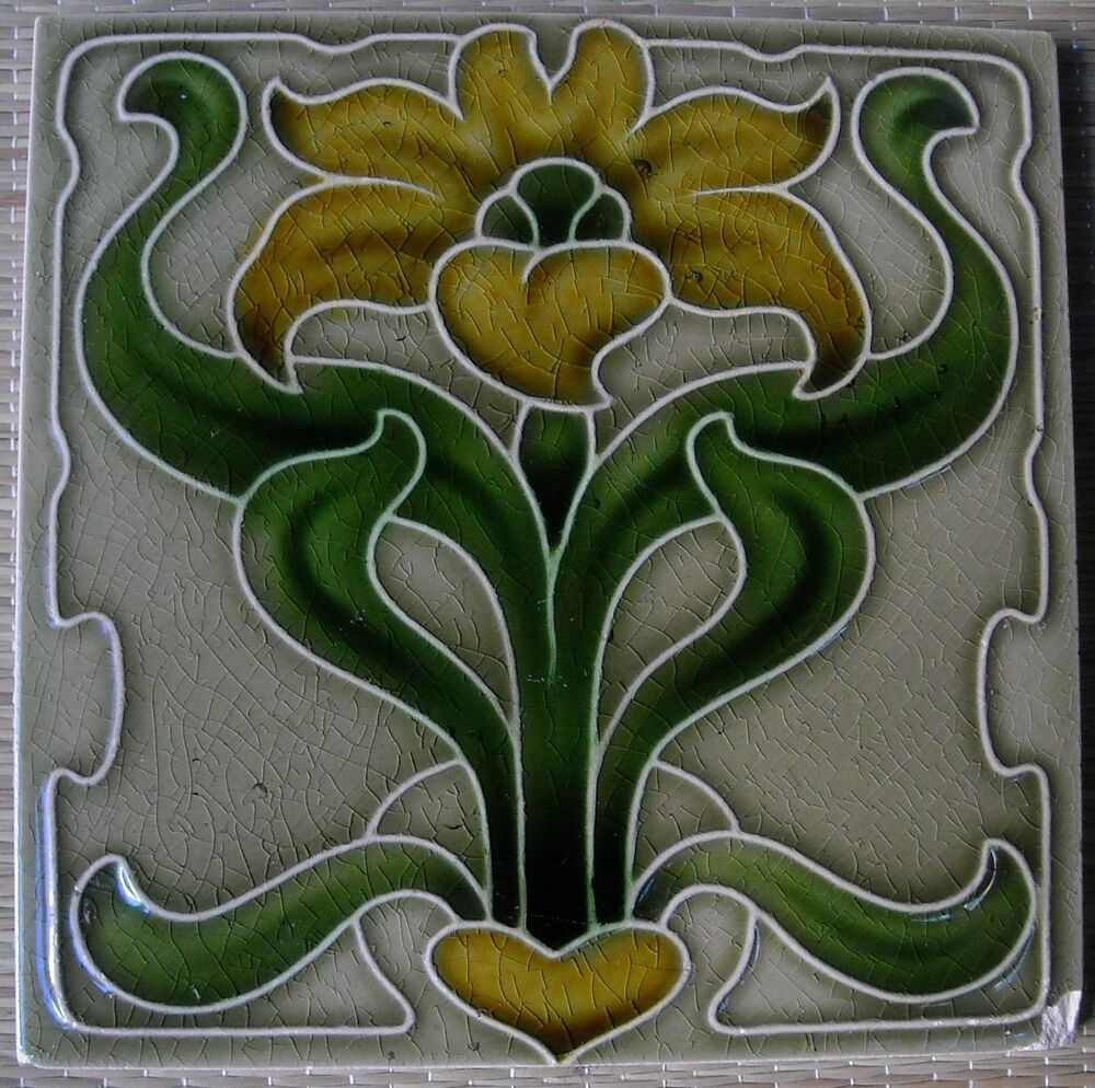 England Antique Art Nouveau Majolica Tile C1900 Ebay