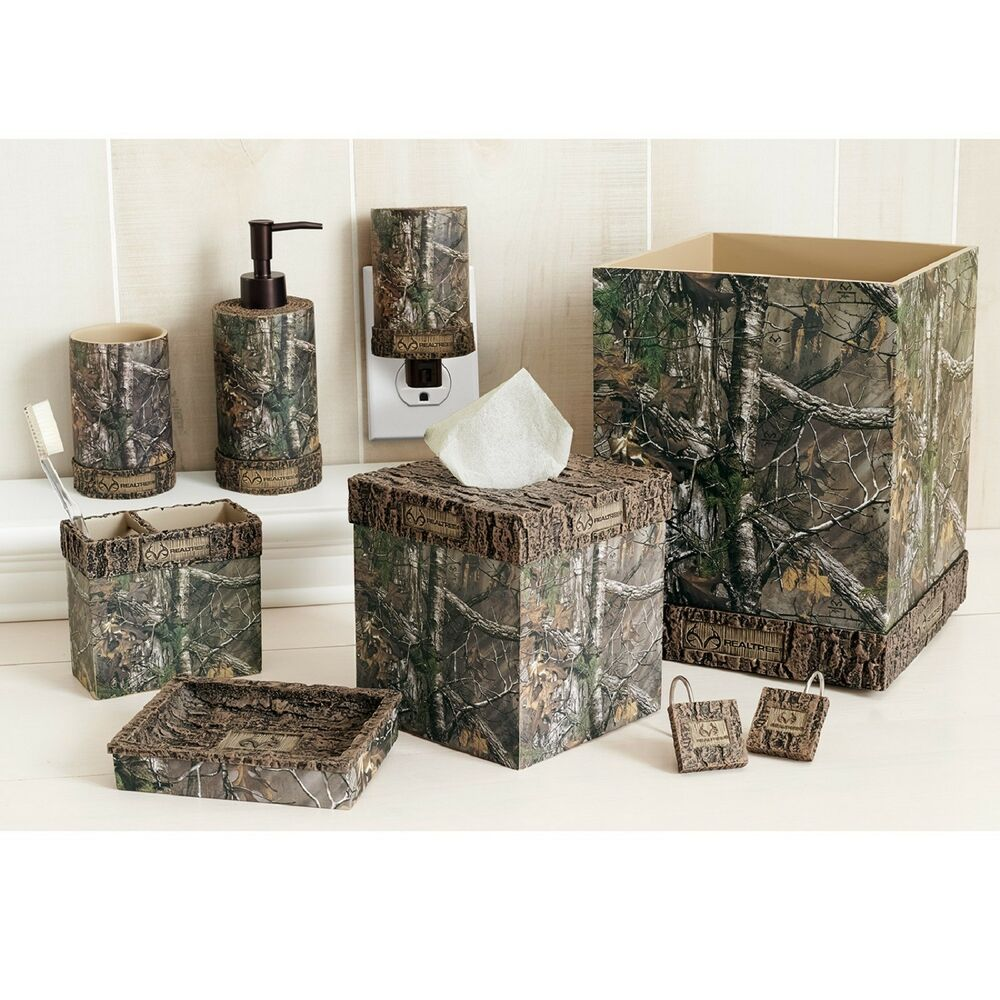 Realtree xtra 8 piece bathroom accessories set licensed for Bathroom accessories set